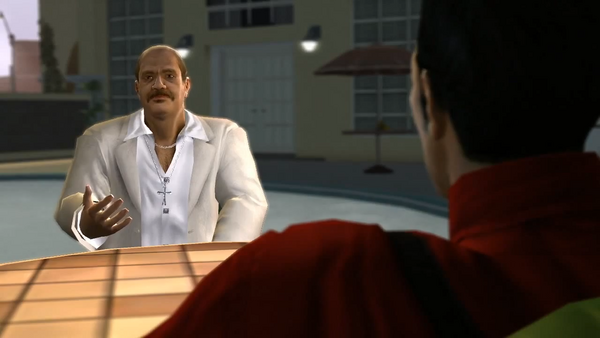 Manuel Orejuela in the Meet the Lopezes cutscene on Xbox 360 with glitched shirt without texture