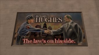 Richard Hughes billboard - The law's on his side