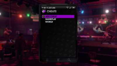 Cheats menu in Saints Row The Third