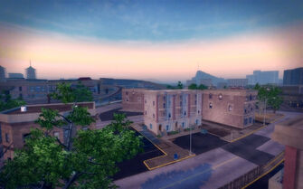 Prawn Court in Saints Row 2 - aerial view