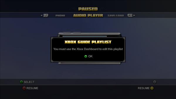 Audio Player - Xbox Guide Playlist error