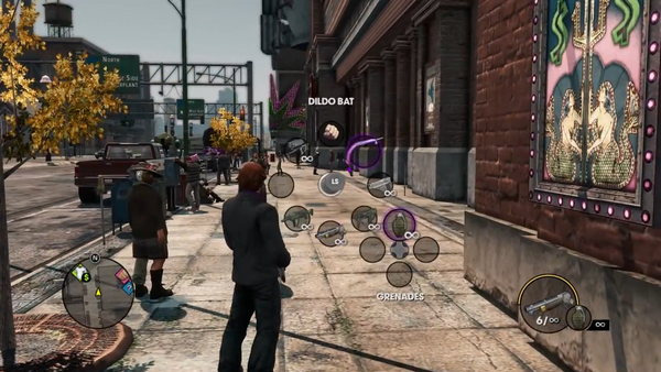 Dildo Bat in Weapon Wheel in the Saints Row The Third Open World Gameplay trailer