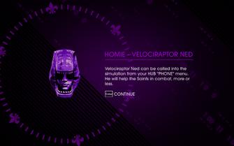 Escape the Dominatrix reward - Homie - Velociraptor Ned unlocked