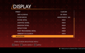Saints Row Gat out of Hell - Main Menu - Options - Display II