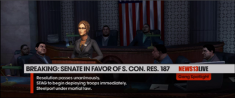 Monica Hughes at press conference - Senate in favor of S. Con. Res. 187 in The Ho Boat closing cutscene