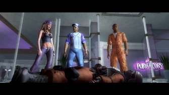 Picking a Fight - Shaundi, Pierce, and Playa looking at a dead Masako soldier