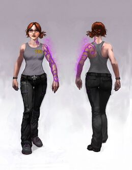 Kinzie Kensington Gat out of Hell Concept Art - front and back