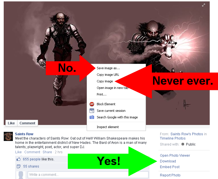 How to download an image from facebook