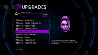 Upgrades menu in Saints Row IV - Page 4 of Gang Abilities