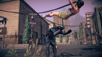 Combat in Saints Row IV - Super powerbomb - during