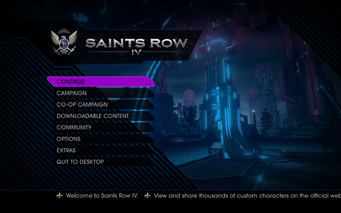 Saints Row IV Main Menu