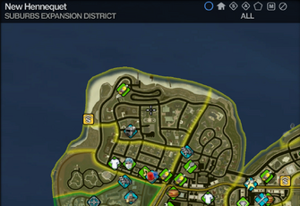 Map in Saints Row 2 - Suburbs Expansion - New Hennequet