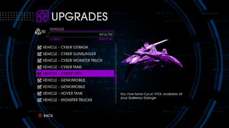 Upgrades menu in Saints Row IV after unlockitall - Cyrus' VTOL