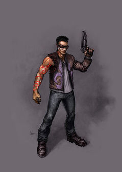 Johnny Gat Concept Art - Gat out of Hell - demonic red lines on arm