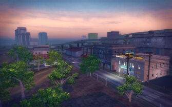 Poseidon Alley in Saints Row 2 - aerial view