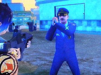 Troy wielding a Pistol as a Homie in Saints Row 2