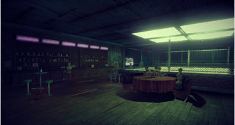 On Track interior in Saints Row IV - bar area
