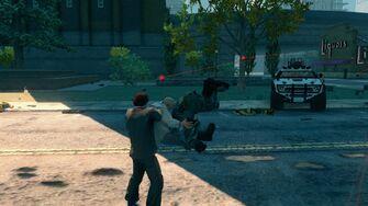 Oleg piledriving an enemy Brute