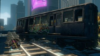 Close up of lead broken Train in Sunset Park in Saints Row The Third