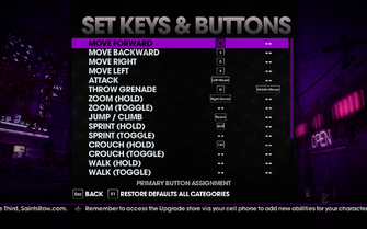 Saints Row The Third - Main Menu - Options - Controls - Set Keys & Buttons - On Foot