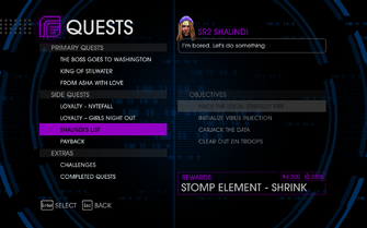 Quests Menu - Shaundi's List