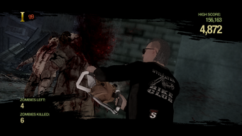 Zombie Uprising - using chainsaw
