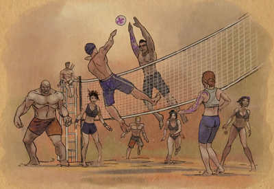 Gat out of Hell cutscene - Josh, Oleg, Lin, Carlos playing volleyball in heaven