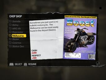 Melbourne - Apartments Chop Shop list in Saints Row 2