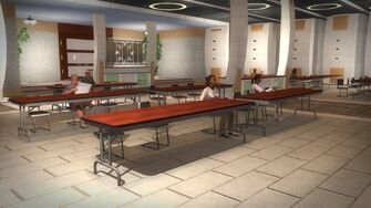 Rounds Square Shopping Center bottom floor conference room civilians sitting at tables