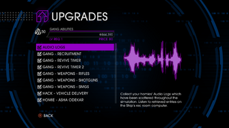 Upgrades menu in Saints Row IV - Page 1 of Gang Abilities