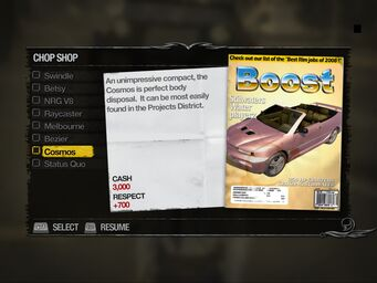 Cosmos - Apartments Chop Shop list in Saints Row 2