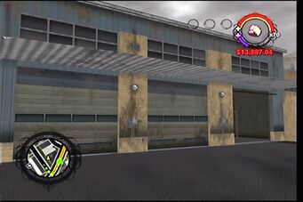Donnie's garage in Saints Row - three garage doors