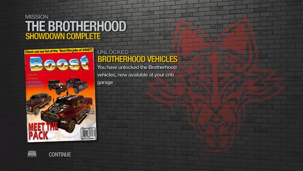 Showdown - Brotherhood Vehicles unlocked