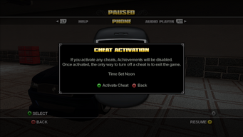 Cheat activation warning in Saints Row