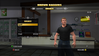 Brown Baggers Drugs menu in Saints Row