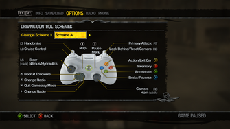 Saints Row 2 Menu - Options - Controls - Driving Control Schemes - Scheme A