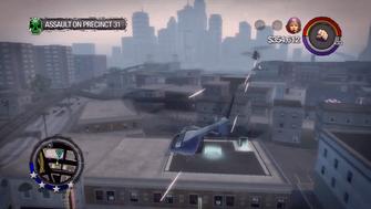 Assault on Precinct 31 - Tornado attacking Oppressor above Saints Hideout