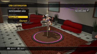 Downtown Loft - Crib Customization - Entertainment Area - Stripper Pole