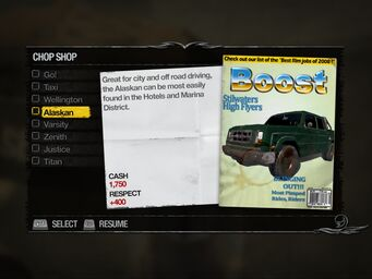 Alaskan - Downtown Chop Shop list in Saints Row 2