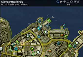 Map in Saints Row 2 - Hotels & Marina - Stilwater Boardwalk