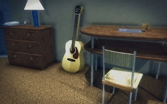 Red Light Loft - Classy - bedside table, guitar, and desk