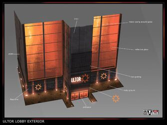 Gat out of Hell Ultor Lobby Exterior Concept Art