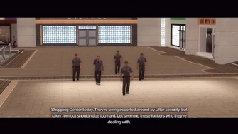 Rounds Square Shopping Center intro - 4 guards escorting executive