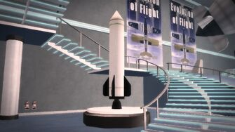 Stilwater Science Center - Rocket model left stairs
