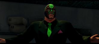 Killbane wearing a black suit