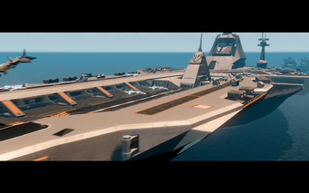Thermopylae in cutscene with aircraft on deck