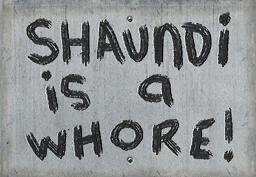 Civilian protest sign - Shaundi is a whore