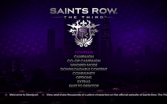 Saints Row The Third - Main Menu