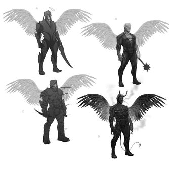Johnny Gat Concept Art - Gat out of Hell Demonic look - four other versions with wings