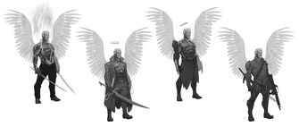 Johnny Gat Concept Art - Gat out of Hell Demonic look - four versions with wings